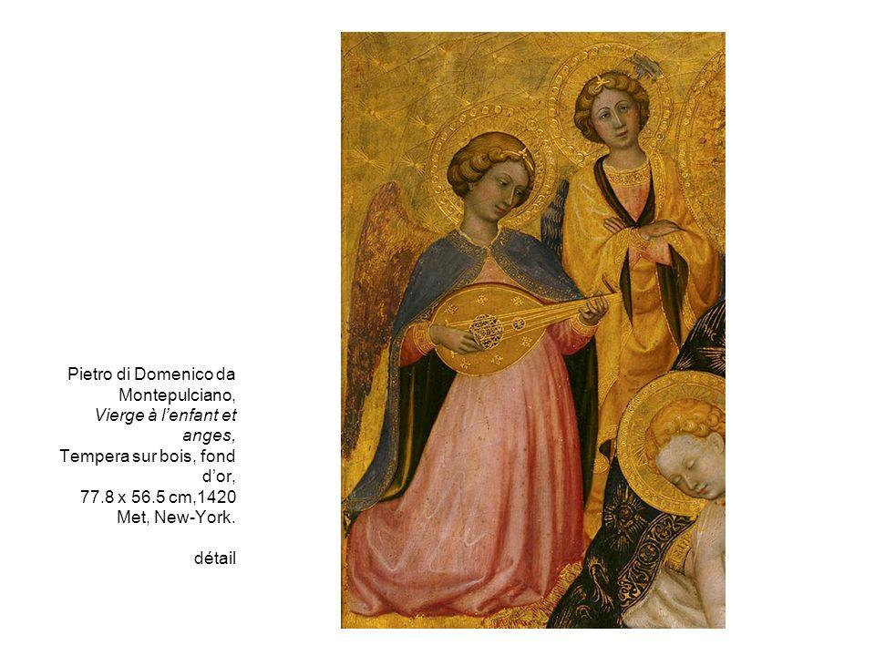 Pietro di Domenico da Montepulciano, Vierge à lenfant et anges, Tempera sur bois, fond dor, 77.8 x 56.5 cm,1420 Met, New-York. détail