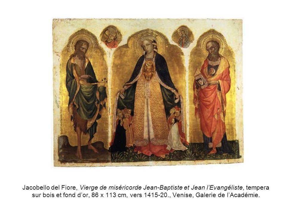 Jacobello del Fiore, Vierge de miséricorde Jean-Baptiste et Jean lEvangéliste, tempera sur bois et fond dor, 86 x 113 cm, vers 1415-20., Venise, Galer