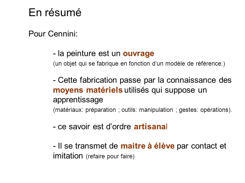 En résumé Pour Cennini: - la peinture est un ouvrage (un objet qui se fabrique en fonction dun modèle de référence.) - Cette fabrication passe par la