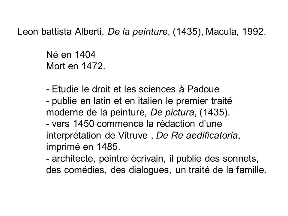Leon battista Alberti, De la peinture, (1435), Macula, 1992. Né en 1404 Mort en 1472. - Etudie le droit et les sciences à Padoue - publie en latin et