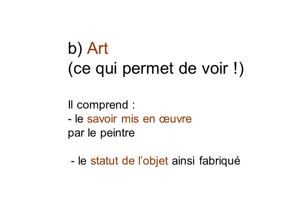 b) Art (ce qui permet de voir !) Il comprend : - le savoir mis en œuvre par le peintre - le statut de lobjet ainsi fabriqué