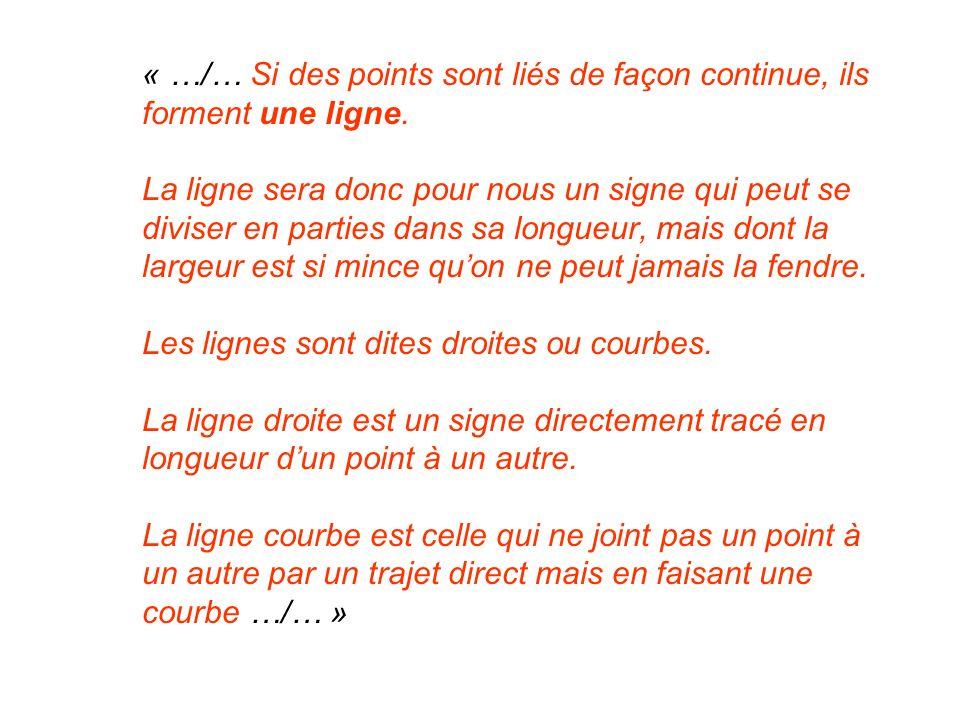 « …/… Si des points sont liés de façon continue, ils forment une ligne. La ligne sera donc pour nous un signe qui peut se diviser en parties dans sa l
