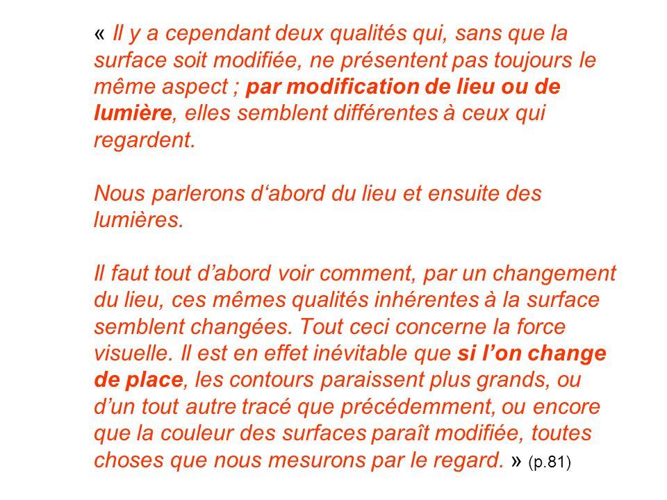 « Il y a cependant deux qualités qui, sans que la surface soit modifiée, ne présentent pas toujours le même aspect ; par modification de lieu ou de lu