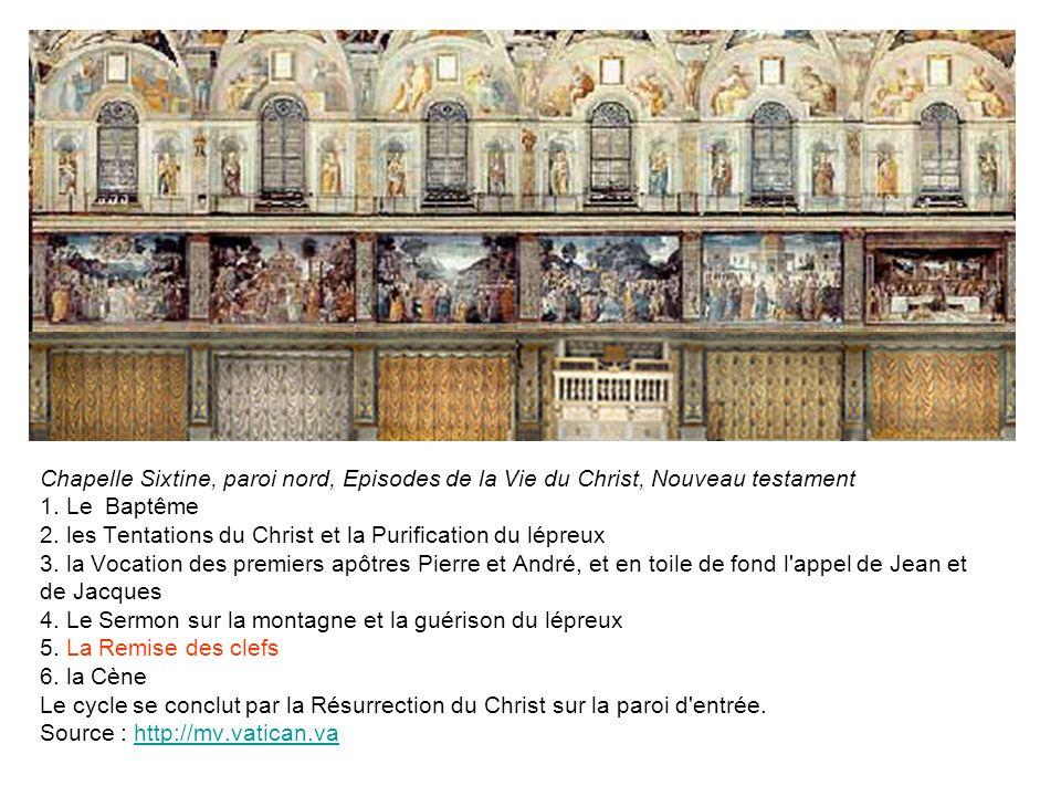 Chapelle Sixtine, paroi nord, Episodes de la Vie du Christ, Nouveau testament 1. Le Baptême 2. les Tentations du Christ et la Purification du lépreux