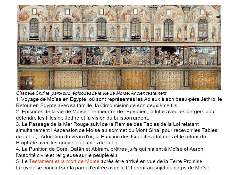 Chapelle Sixtine, paroi sud, épisodes de la vie de Moïse, Ancien testament 1. Voyage de Moïse en Egypte, où sont représentés les Adieux à son beau-pèr