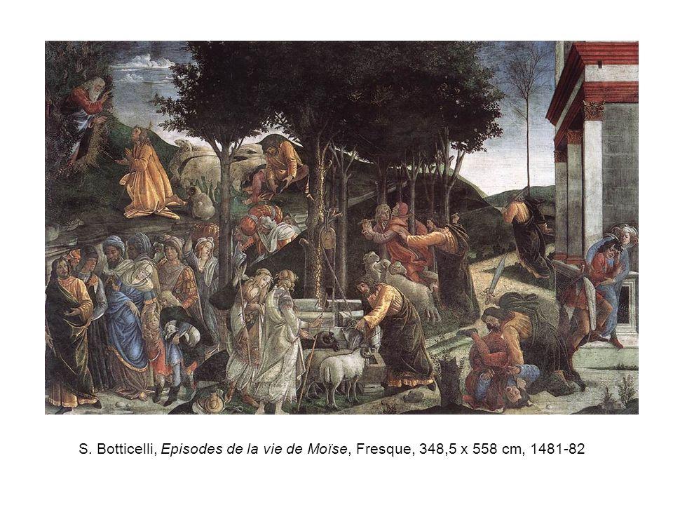S. Botticelli, Episodes de la vie de Moïse, Fresque, 348,5 x 558 cm, 1481-82