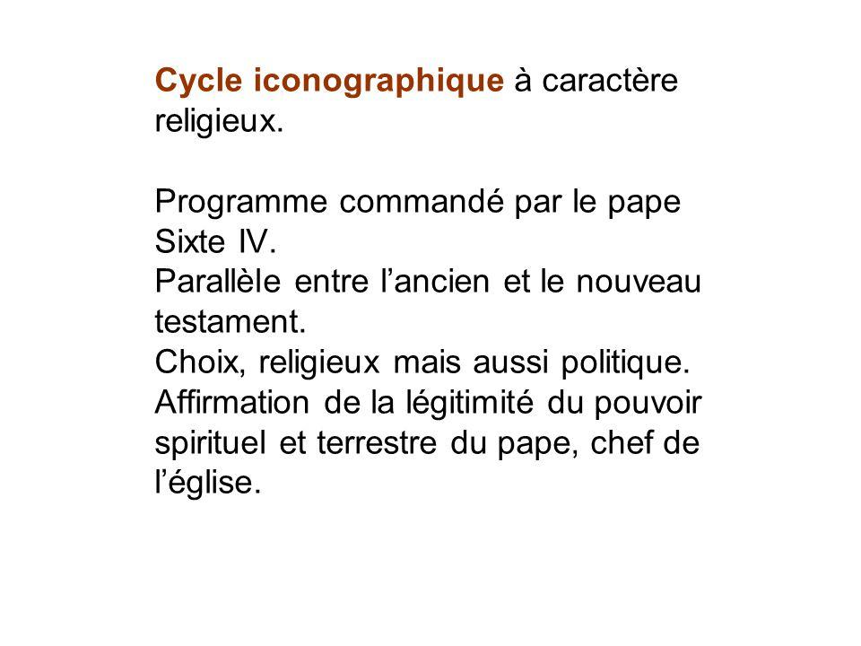 Cycle iconographique à caractère religieux. Programme commandé par le pape Sixte IV. Parallèle entre lancien et le nouveau testament. Choix, religieux