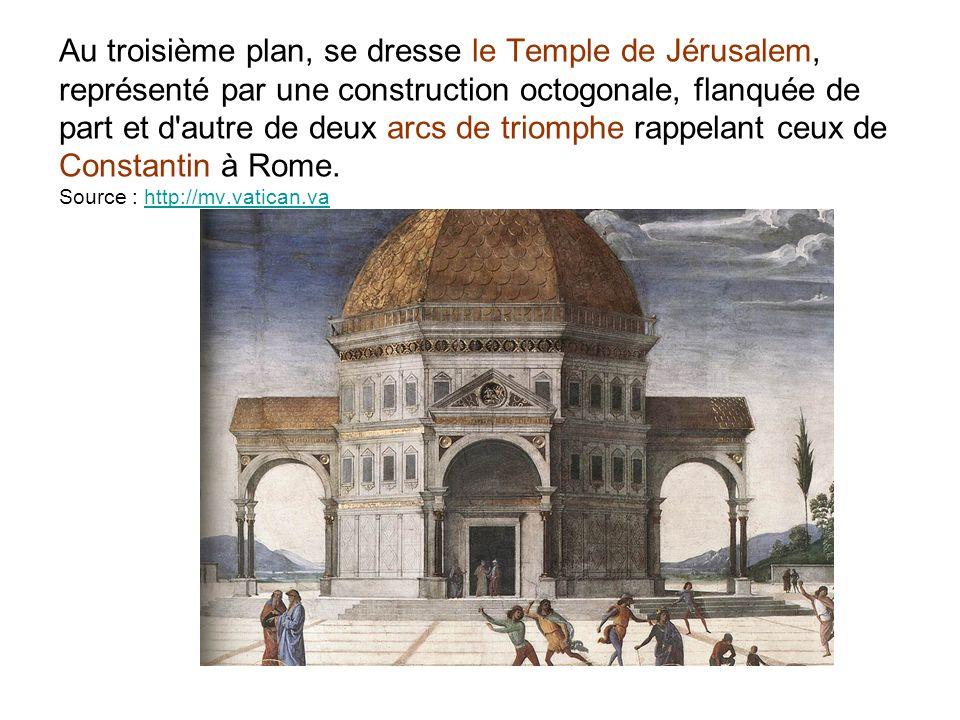 Au troisième plan, se dresse le Temple de Jérusalem, représenté par une construction octogonale, flanquée de part et d'autre de deux arcs de triomphe