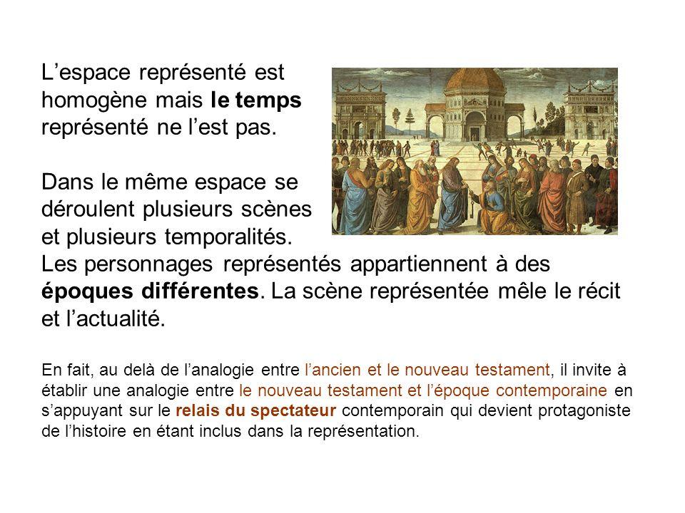 Lespace représenté est homogène mais le temps représenté ne lest pas. Dans le même espace se déroulent plusieurs scènes et plusieurs temporalités. Les
