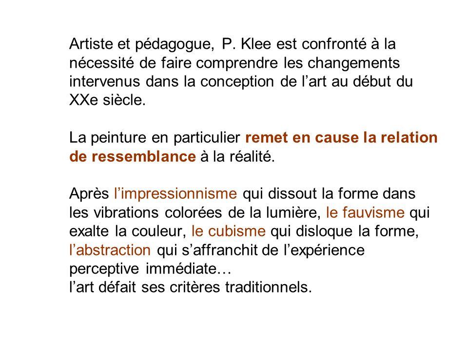 Artiste et pédagogue, P. Klee est confronté à la nécessité de faire comprendre les changements intervenus dans la conception de lart au début du XXe s