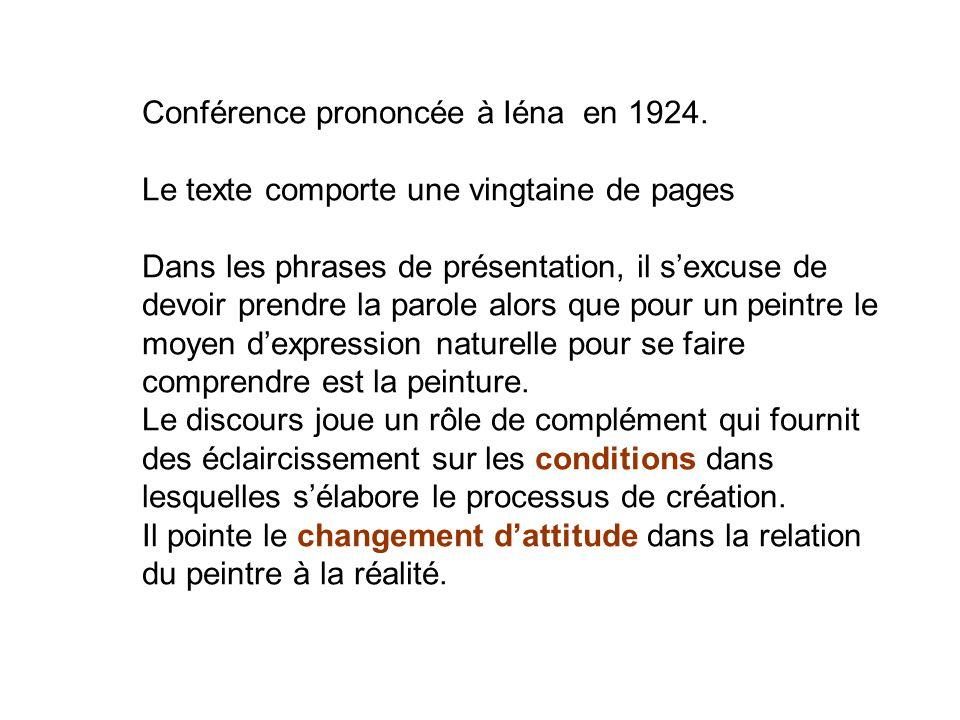 Conférence prononcée à Iéna en 1924. Le texte comporte une vingtaine de pages Dans les phrases de présentation, il sexcuse de devoir prendre la parole