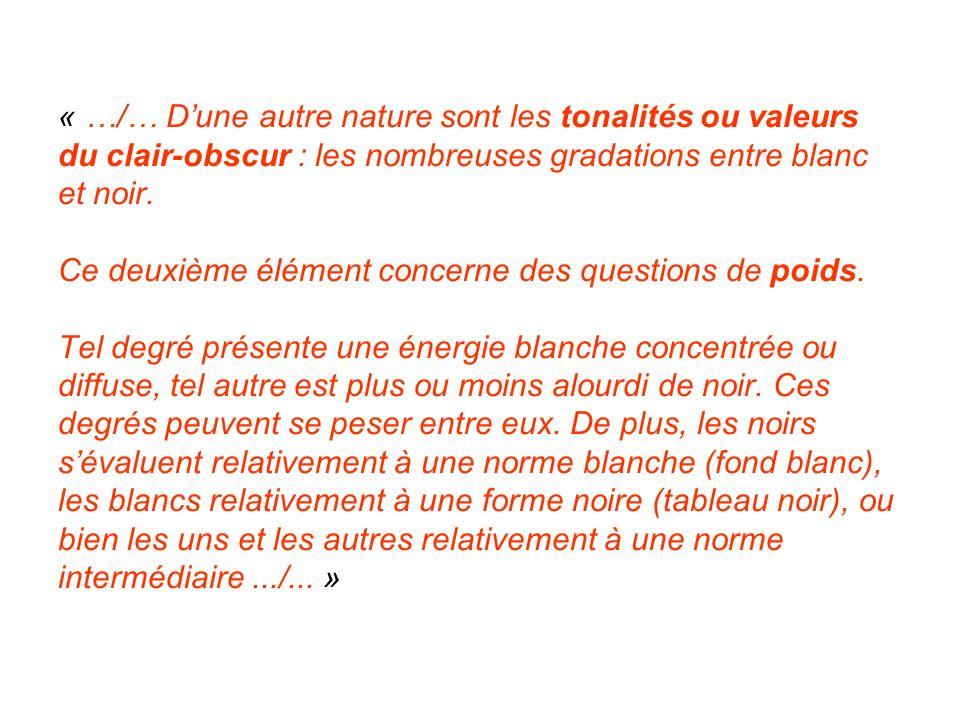 « …/… Dune autre nature sont les tonalités ou valeurs du clair-obscur : les nombreuses gradations entre blanc et noir. Ce deuxième élément concerne de
