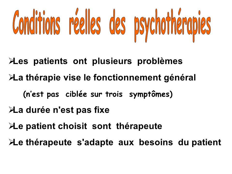 Les patients ont plusieurs problèmes La thérapie vise le fonctionnement général (nest pas ciblée sur trois symptômes) La durée n'est pas fixe Le patie