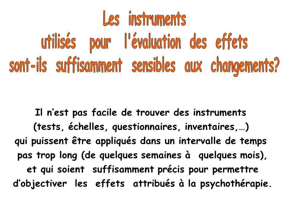 Il nest pas facile de trouver des instruments (tests, échelles, questionnaires, inventaires,…) qui puissent être appliqués dans un intervalle de temps