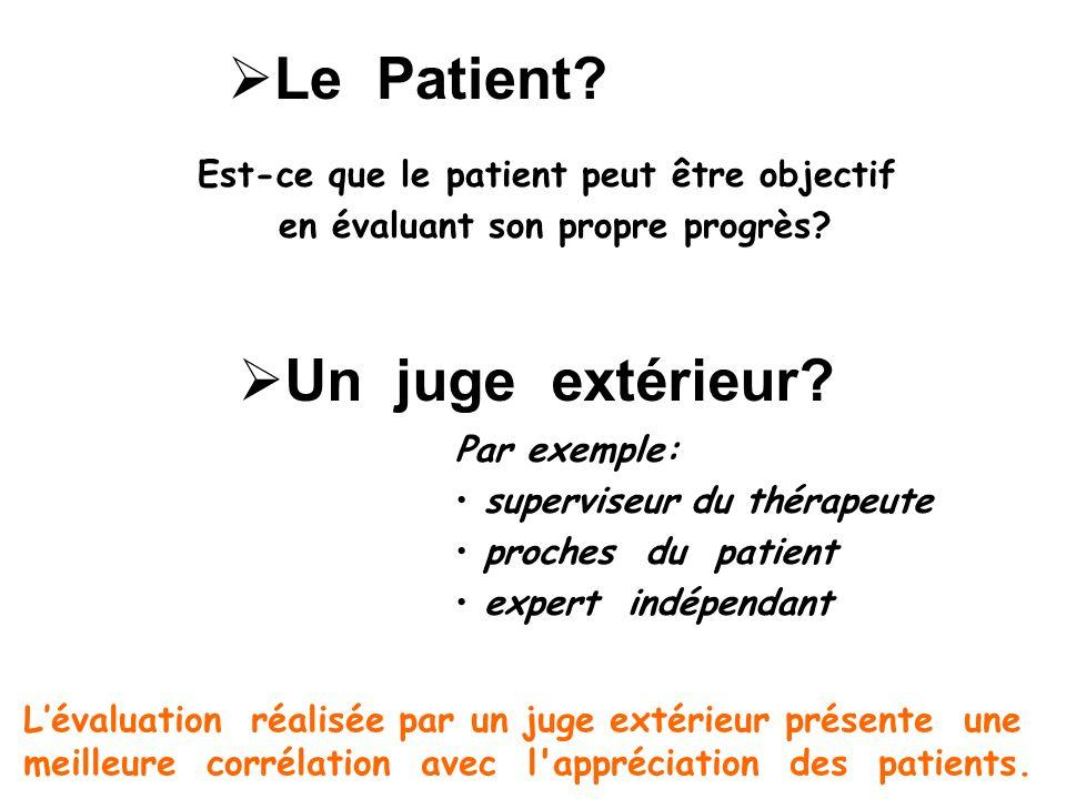 Un juge extérieur? Par exemple: superviseur du thérapeute proches du patient expert indépendant Lévaluation réalisée par un juge extérieur présente un