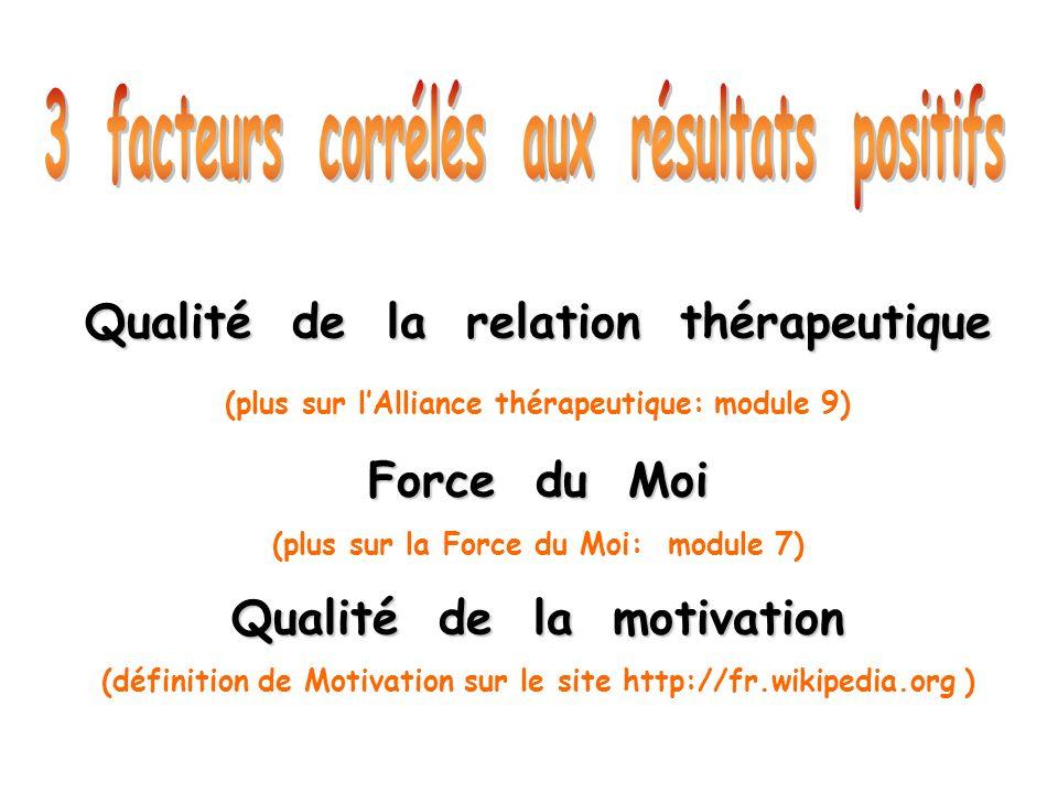 Qualité de la relation thérapeutique (plus sur lAlliance thérapeutique: module 9) Force du Moi (plus sur la Force du Moi: module 7) Qualité de la moti