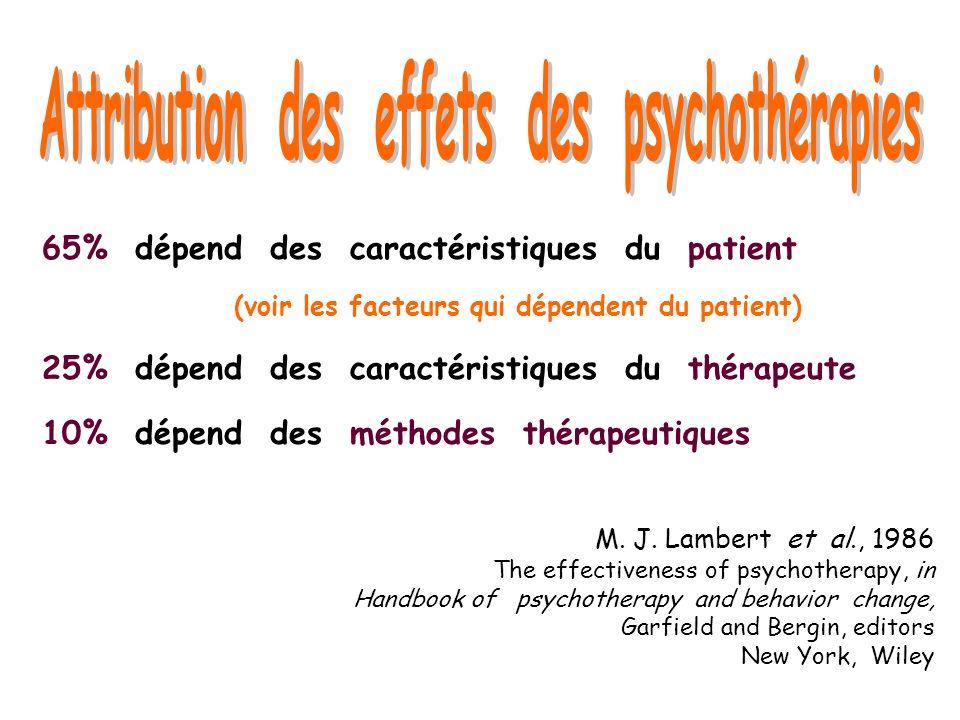 M. J. Lambert et al., 1986 The effectiveness of psychotherapy, in Handbook of psychotherapy and behavior change, Garfield and Bergin, editors New York