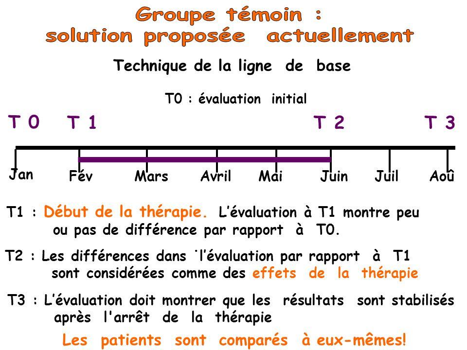 T 0 T 1T 2T 3 Jan FévMarsAvrilMaiJuinJuilAoû T1 : Début de la thérapie. Lévaluation à T1 montre peu ou pas de différence par rapport à T0.. T2 : Les d