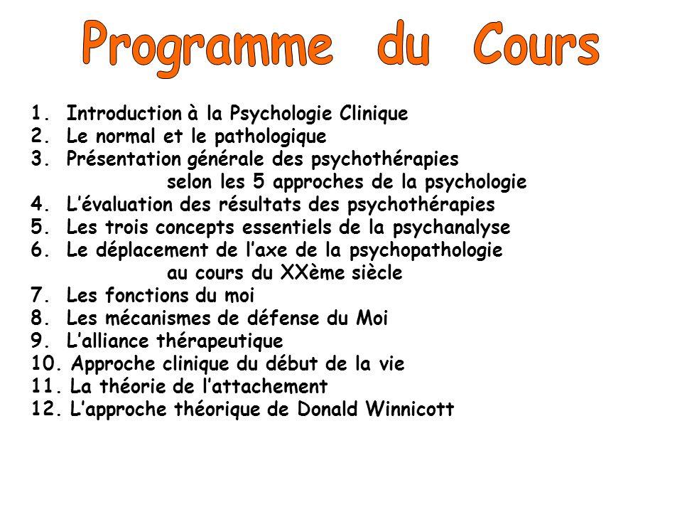 1. Introduction à la Psychologie Clinique 2. Le normal et le pathologique 3. Présentation générale des psychothérapies selon les 5 approches de la psy