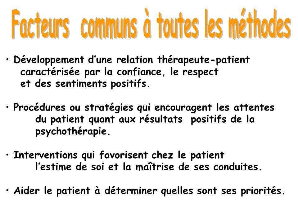 Développement dune relation thérapeute-patient caractérisée par la confiance, le respect et des sentiments positifs. Procédures ou stratégies qui enco