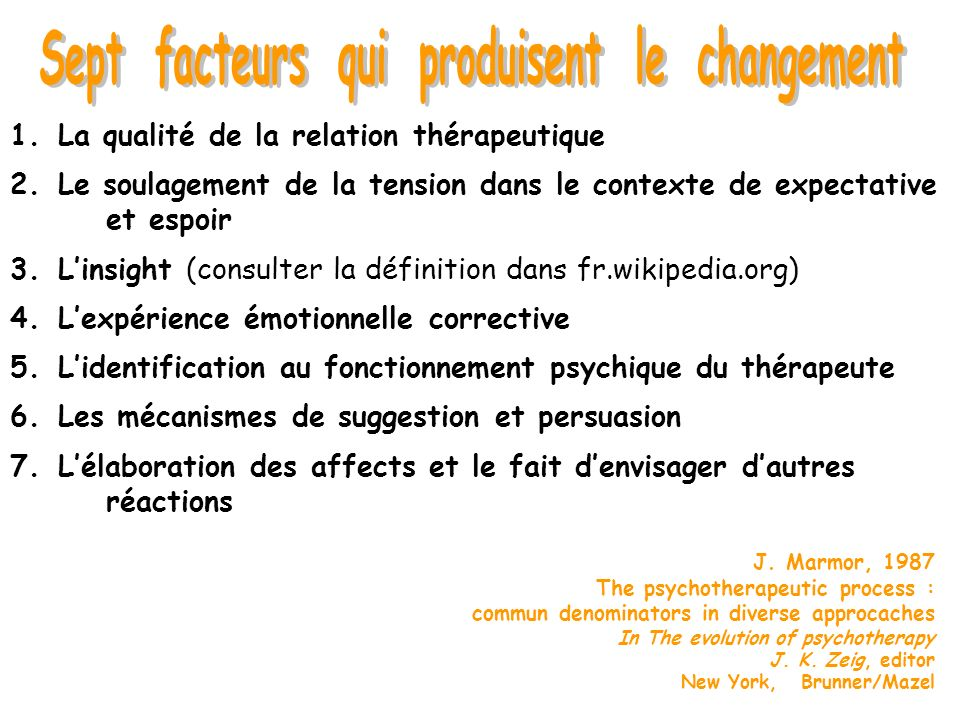 J. Marmor, 1987 The psychotherapeutic process : commun denominators in diverse approcaches In The evolution of psychotherapy J. K. Zeig, editor New Yo