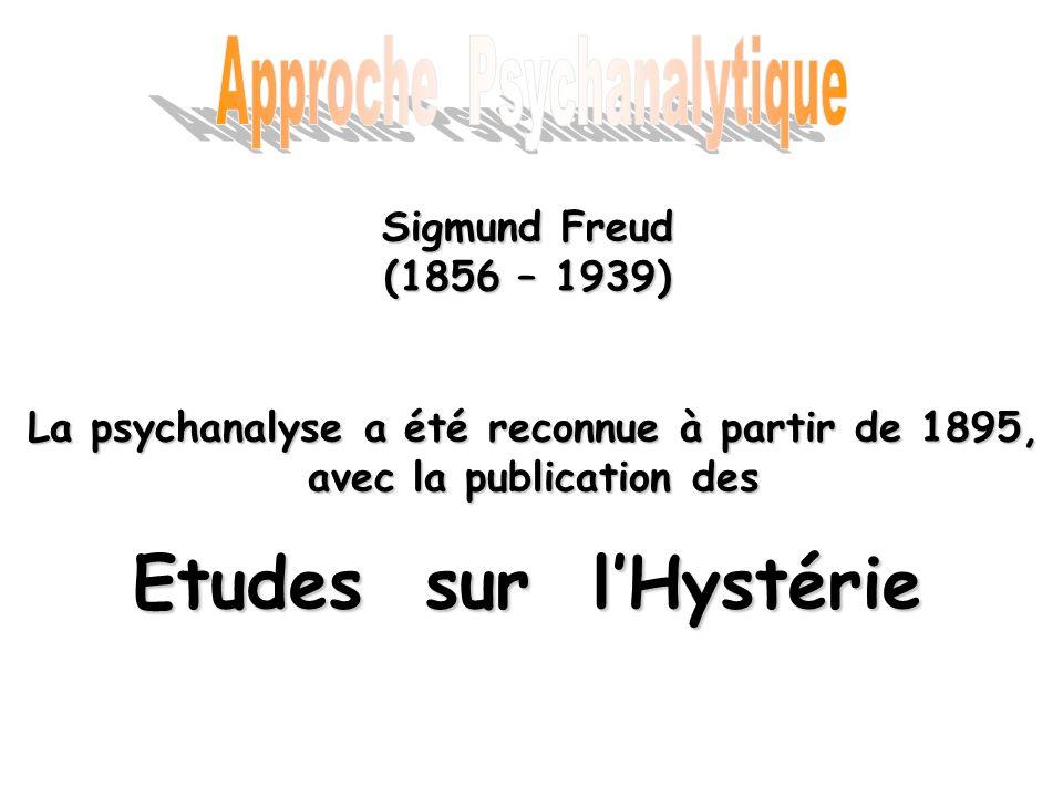 Sigmund Freud (1856 – 1939) Etudes sur lHystérie La psychanalyse a été reconnue à partir de 1895, avec la publication des