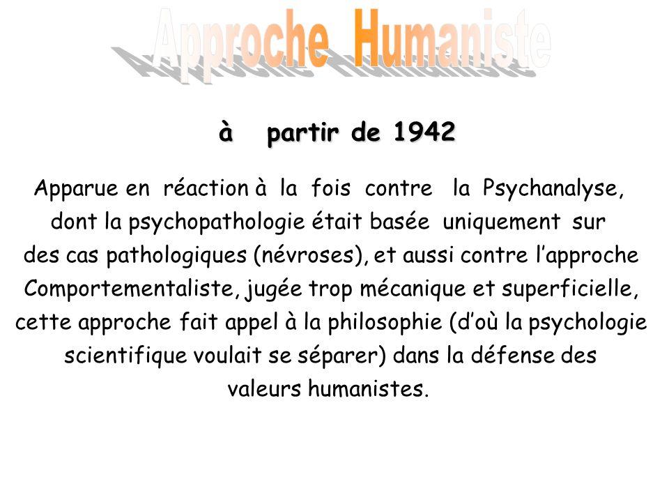 à partir de 1942 Apparue en réaction à la fois contre la Psychanalyse, dont la psychopathologie était basée uniquement sur des cas pathologiques (névr