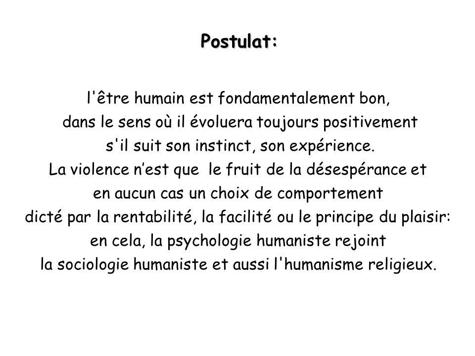 Postulat: l'être humain est fondamentalement bon, dans le sens où il évoluera toujours positivement s'il suit son instinct, son expérience. La violenc