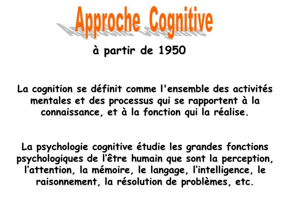 à partir de 1950 La cognition se définit comme l'ensemble des activités mentales et des processus qui se rapportent à la connaissance, et à la fonctio