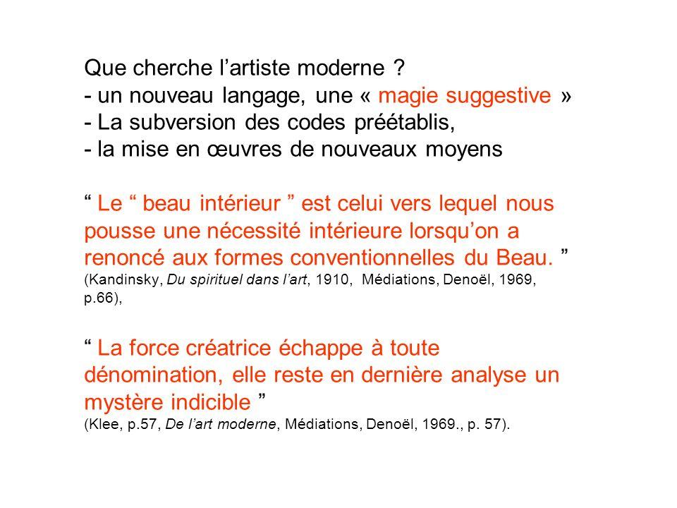 Que cherche lartiste moderne ? - un nouveau langage, une « magie suggestive » - La subversion des codes préétablis, - la mise en œuvres de nouveaux mo