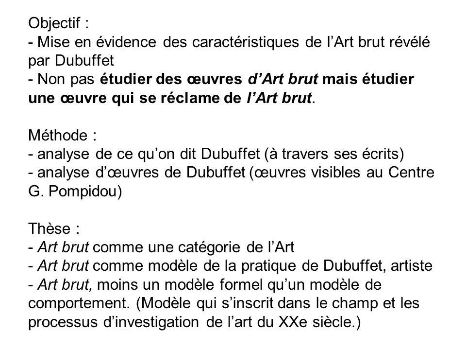 Objectif : - Mise en évidence des caractéristiques de lArt brut révélé par Dubuffet - Non pas étudier des œuvres dArt brut mais étudier une œuvre qui