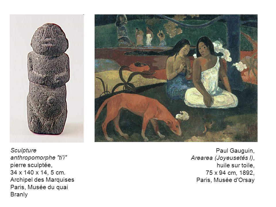 Paul Gauguin, Arearea (Joyeusetés I), huile sur toile, 75 x 94 cm, 1892, Paris, Musée d'Orsay Sculpture anthropomorphe
