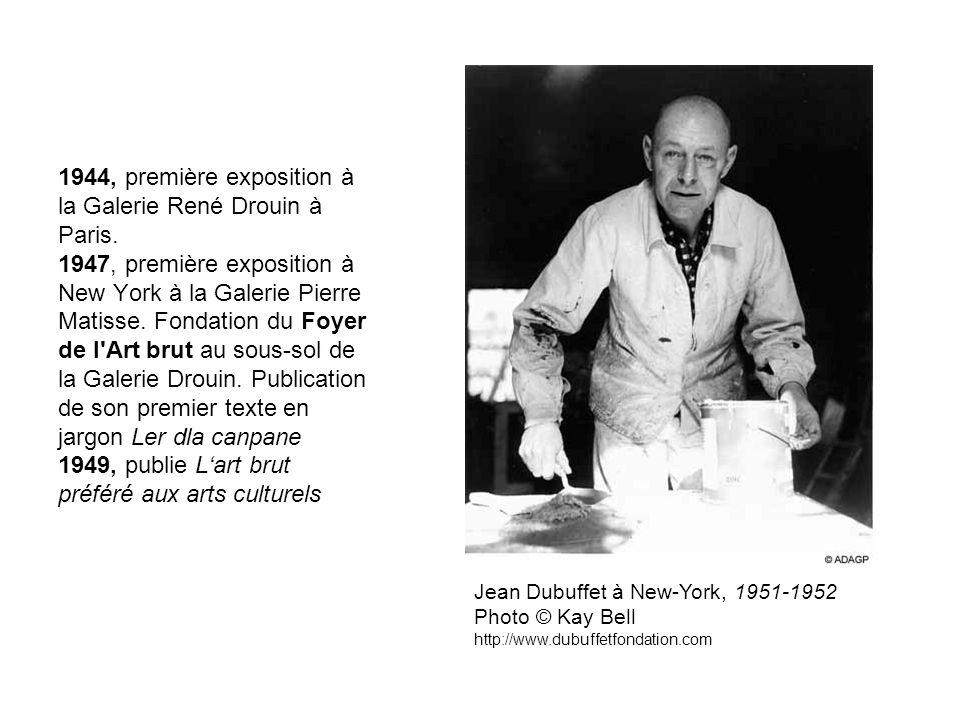 1944, première exposition à la Galerie René Drouin à Paris. 1947, première exposition à New York à la Galerie Pierre Matisse. Fondation du Foyer de l'