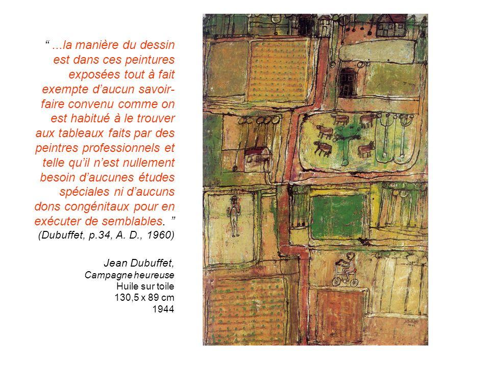 ...la manière du dessin est dans ces peintures exposées tout à fait exempte daucun savoir- faire convenu comme on est habitué à le trouver aux tableau