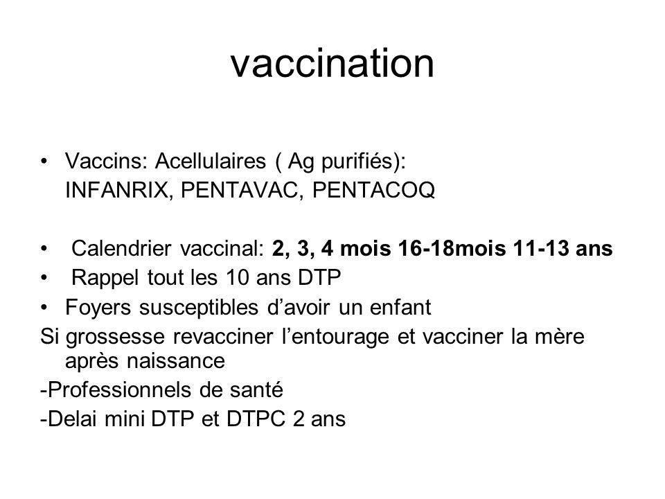 vaccination Vaccins: Acellulaires ( Ag purifiés): INFANRIX, PENTAVAC, PENTACOQ Calendrier vaccinal: 2, 3, 4 mois 16-18mois 11-13 ans Rappel tout les 1