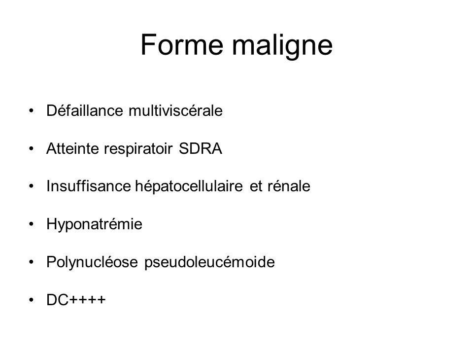 Forme maligne Défaillance multiviscérale Atteinte respiratoir SDRA Insuffisance hépatocellulaire et rénale Hyponatrémie Polynucléose pseudoleucémoide