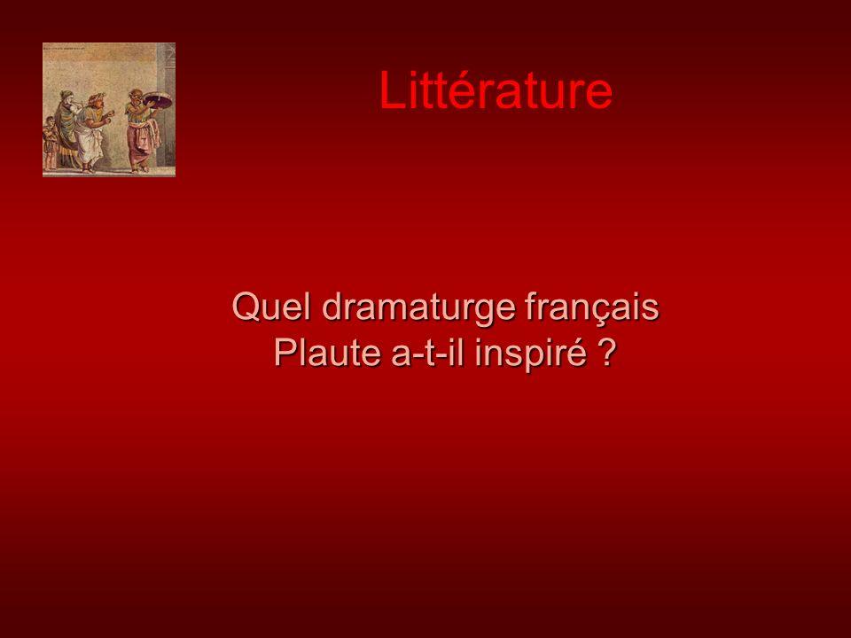 Quel dramaturge français Plaute a-t-il inspiré