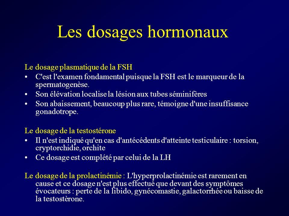 Les dosages hormonaux Le dosage plasmatique de la FSH C'est l'examen fondamental puisque la FSH est le marqueur de la spermatogenèse. Son élévation lo