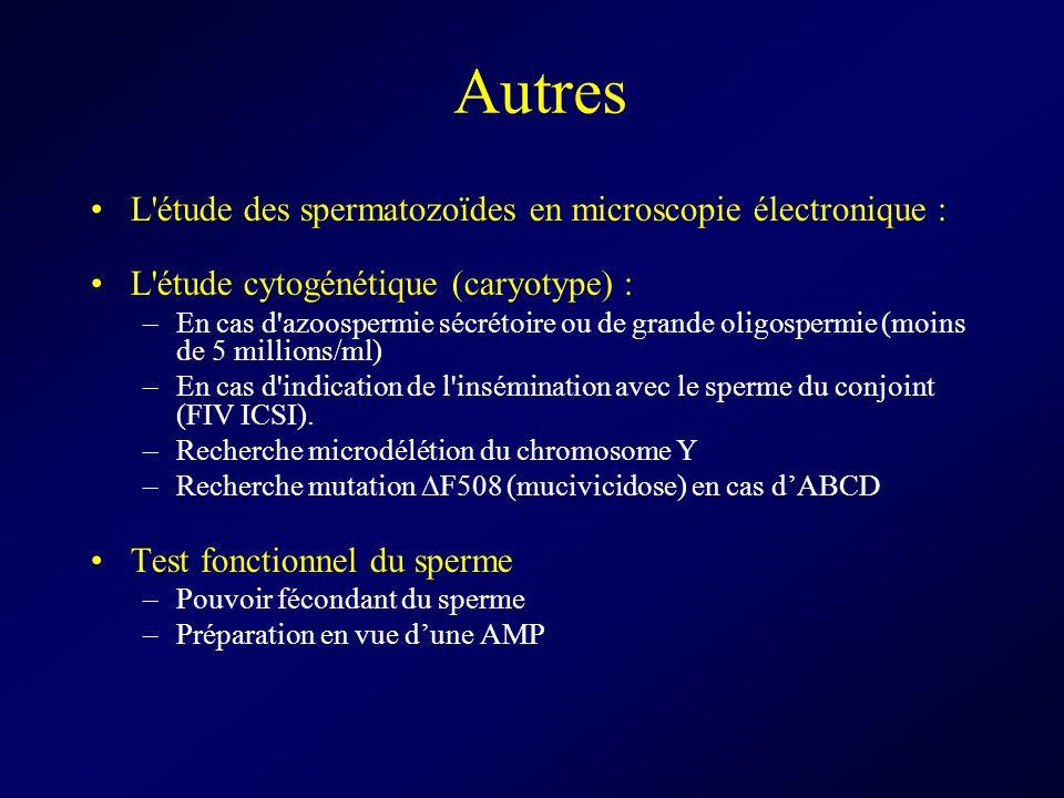 Autres L'étude des spermatozoïdes en microscopie électronique : L'étude cytogénétique (caryotype) : –En cas d'azoospermie sécrétoire ou de grande olig