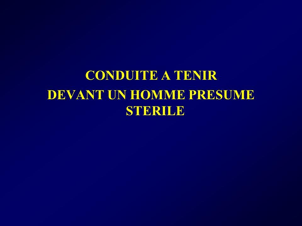 CONDUITE A TENIR DEVANT UN HOMME PRESUME STERILE