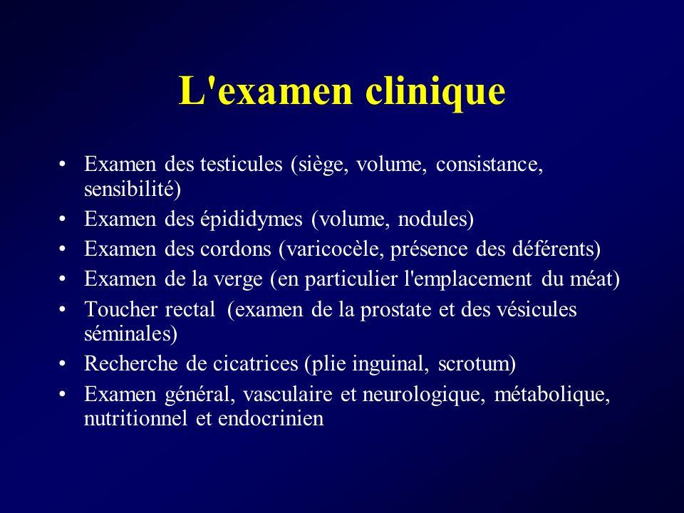 L'examen clinique Examen des testicules (siège, volume, consistance, sensibilité) Examen des épididymes (volume, nodules) Examen des cordons (varicocè