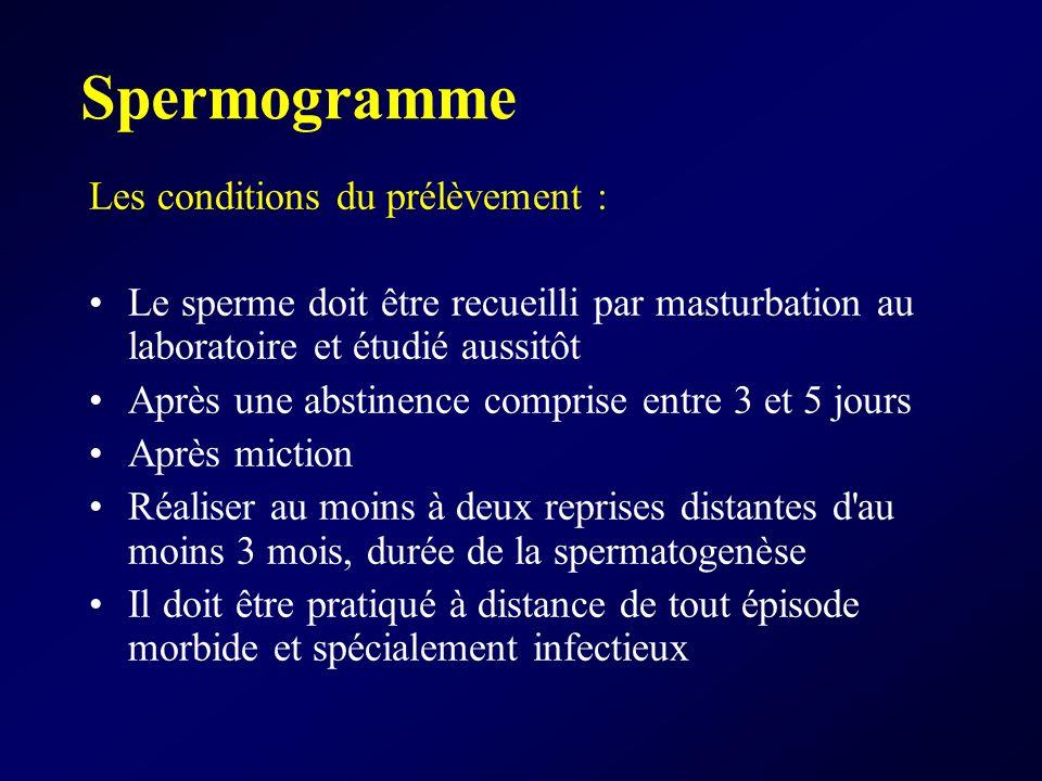 Spermogramme Les conditions du prélèvement : Le sperme doit être recueilli par masturbation au laboratoire et étudié aussitôt Après une abstinence com