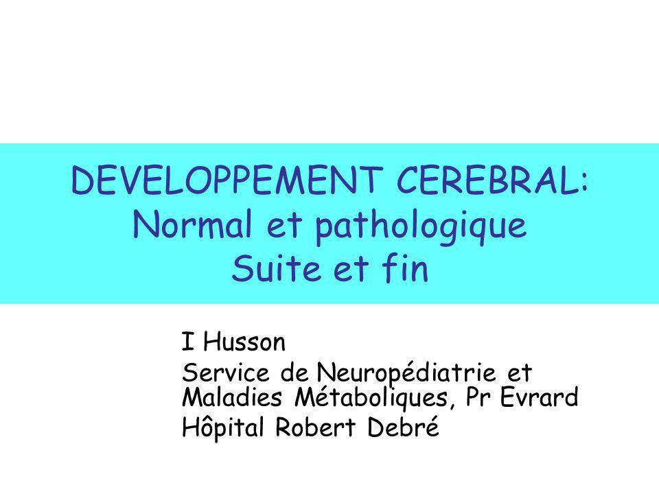 DEVELOPPEMENT CEREBRAL: Normal et pathologique Suite et fin I Husson Service de Neuropédiatrie et Maladies Métaboliques, Pr Evrard Hôpital Robert Debr