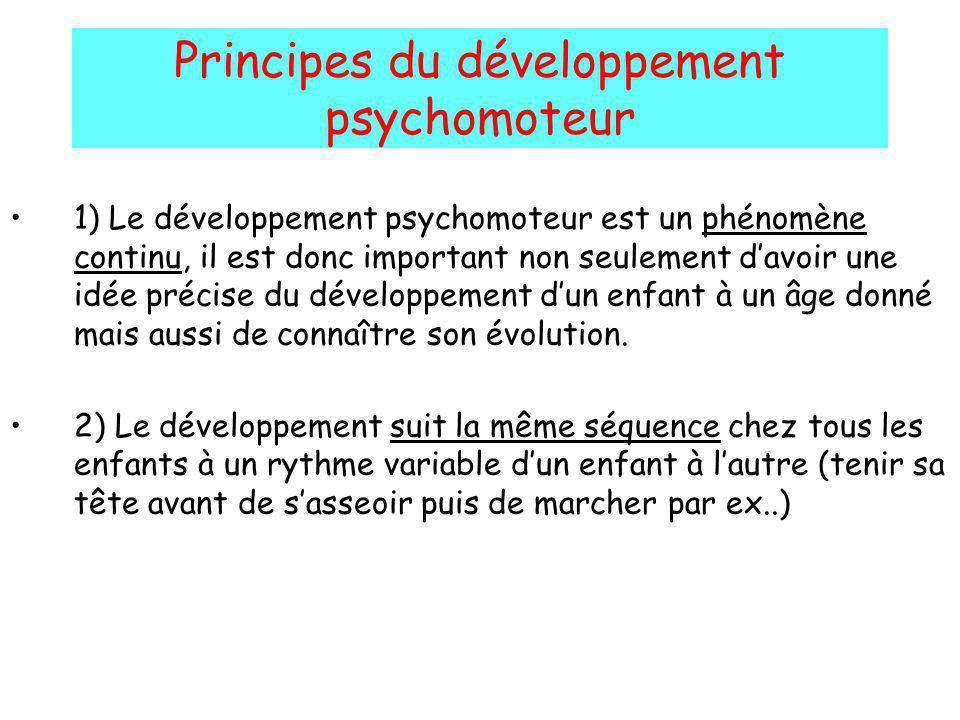 Principes du développement psychomoteur 1) Le développement psychomoteur est un phénomène continu, il est donc important non seulement davoir une idée