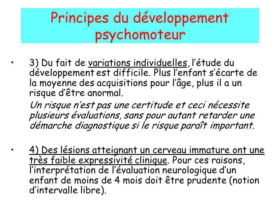 Principes du développement psychomoteur 3) Du fait de variations individuelles, létude du développement est difficile. Plus lenfant sécarte de la moye