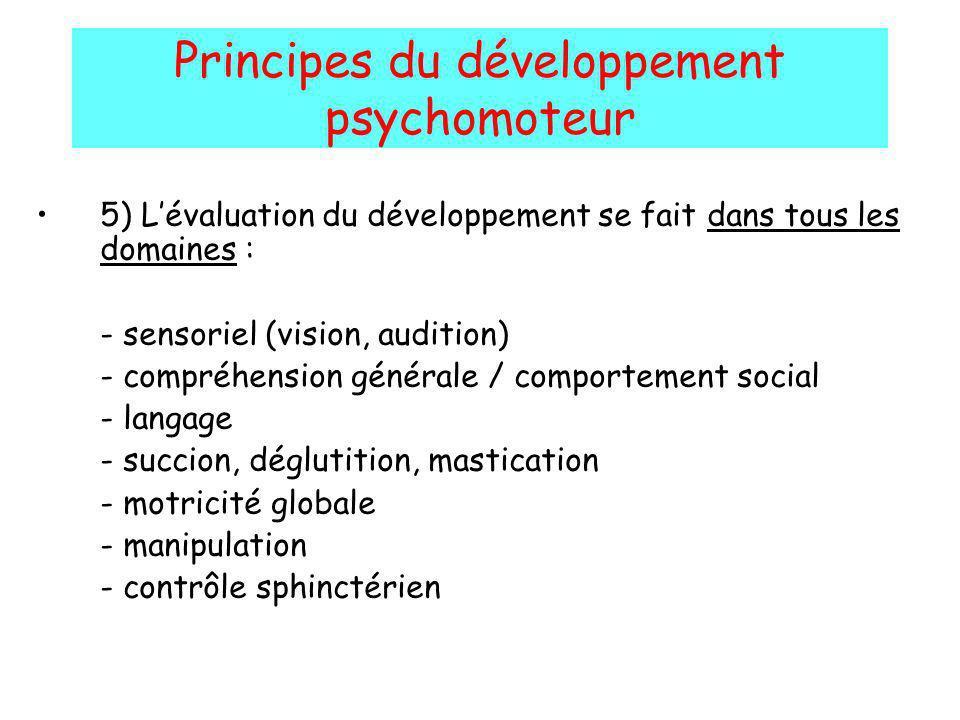 Principes du développement psychomoteur 5) Lévaluation du développement se fait dans tous les domaines : - sensoriel (vision, audition) - compréhensio