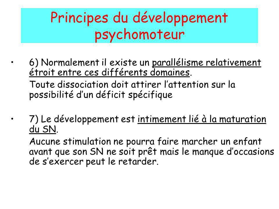 Principes du développement psychomoteur 6) Normalement il existe un parallélisme relativement étroit entre ces différents domaines. Toute dissociation