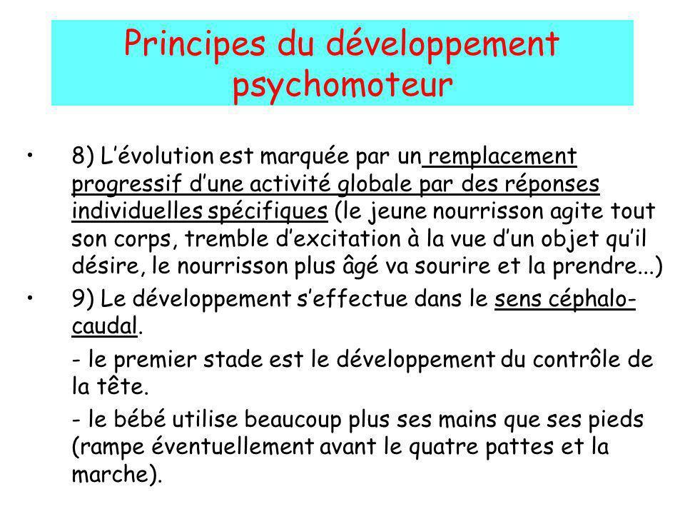 Principes du développement psychomoteur 8) Lévolution est marquée par un remplacement progressif dune activité globale par des réponses individuelles