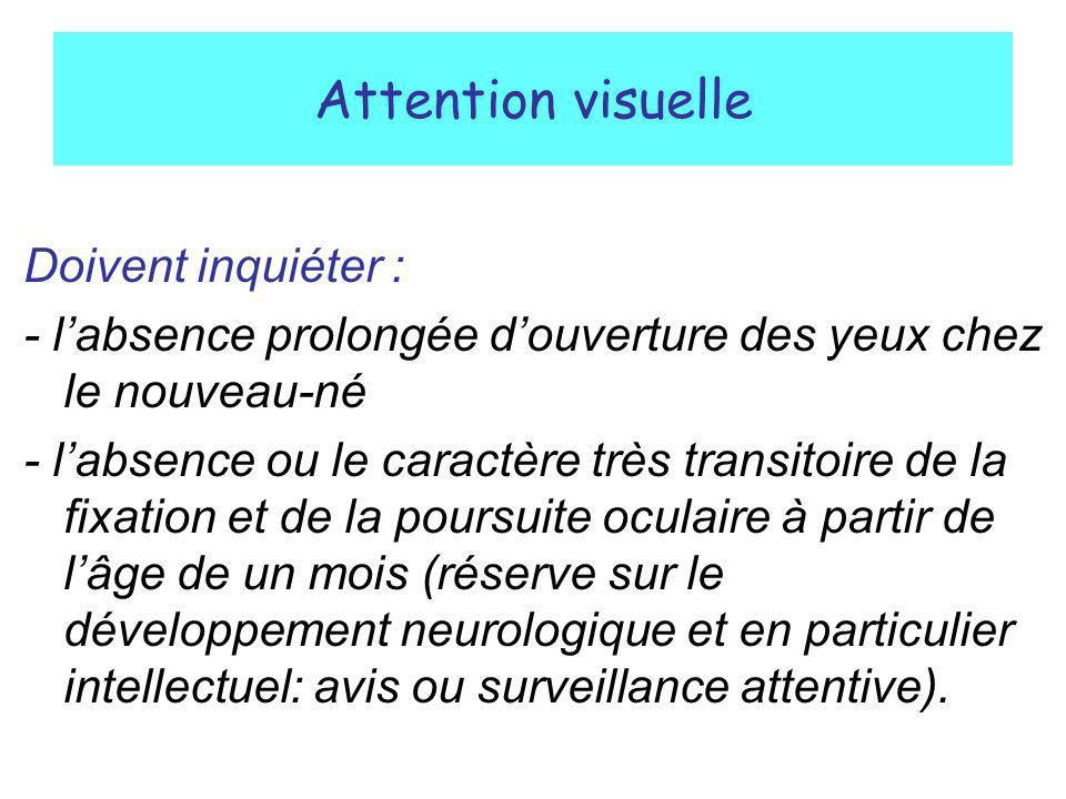 Attention visuelle Doivent inquiéter : - labsence prolongée douverture des yeux chez le nouveau-né - labsence ou le caractère très transitoire de la f