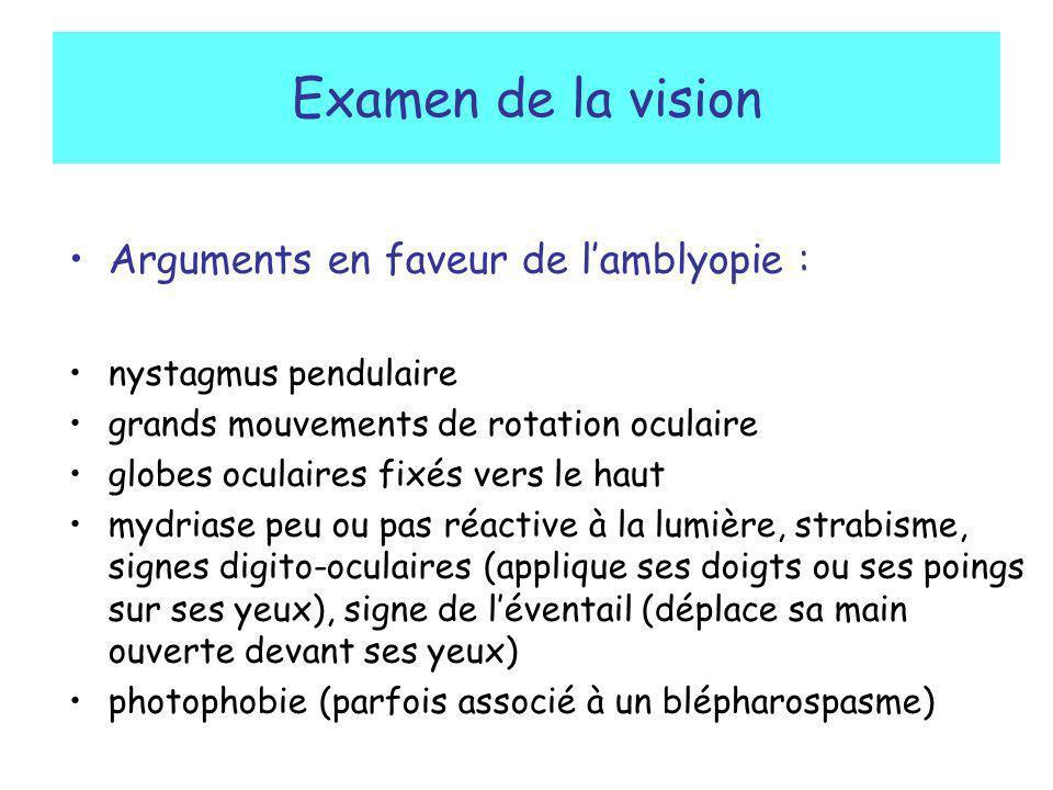 Examen de la vision Arguments en faveur de lamblyopie : nystagmus pendulaire grands mouvements de rotation oculaire globes oculaires fixés vers le hau